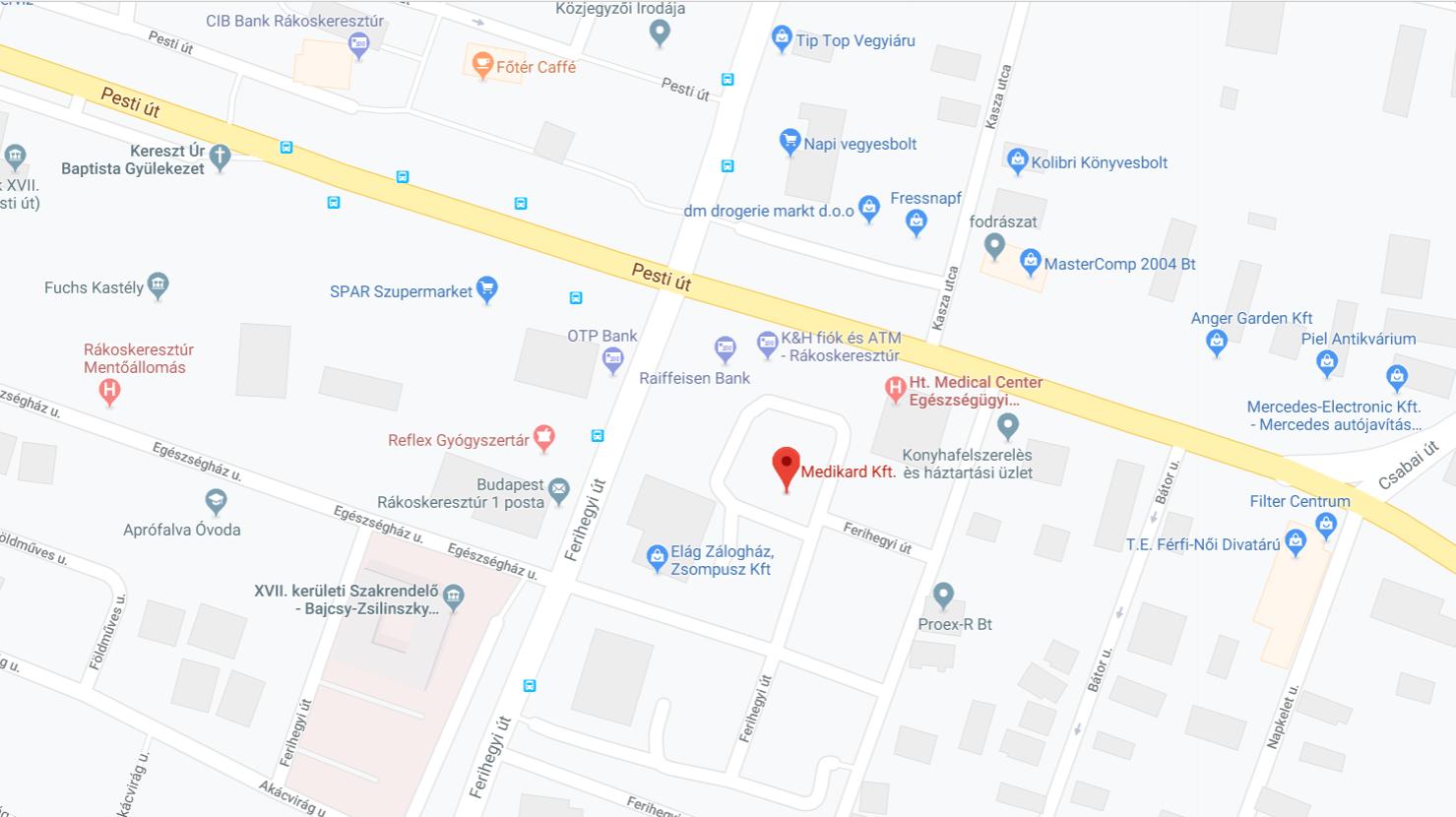 Medikard elérhetőség a 17. kerületen